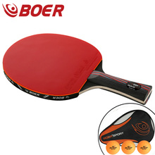 Racket Table-Tennis Ping-Pong Carbon-Fiber BOER Short/long-Paddle Professional with Training-Balls
