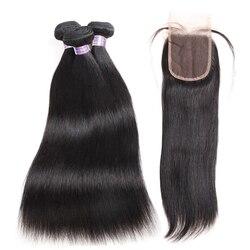 Перуанские прямые пряди волос с закрытием человеческие волосы 3 пряди с закрытием не Реми Allove пряди волос
