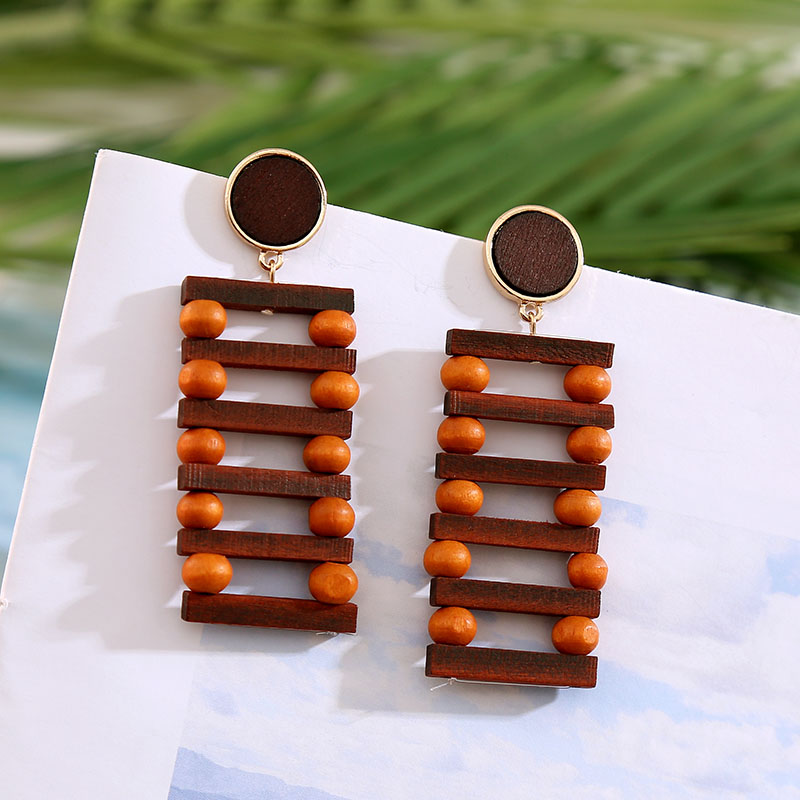 19 Fashion Boho Round Square Geometric Wooden Drop Earrings For Women Bohemian Vintage Wood Beaded Dangle Earring Jewelry Gift 5