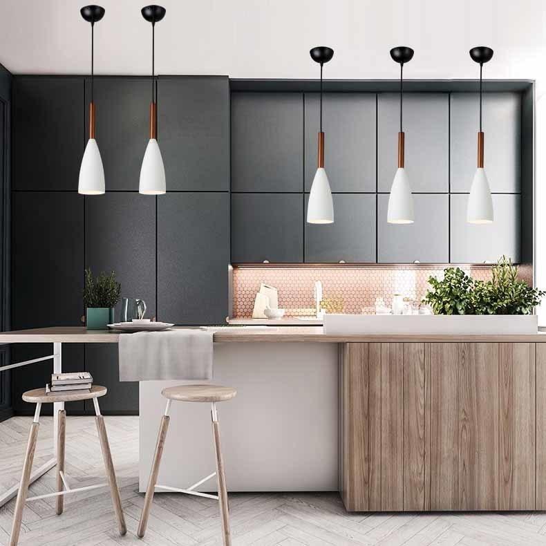 Modern Wood Pendant Lights Drop Aluminum Nordic White Pendant Lamps Hanging Decorative Light For Home Lighting DiningRestaurant  (5)