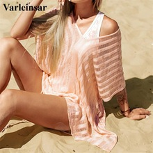 Robe Swimwear Bathing-Suit Cover-Up Crochet Beach-Dress Women Bikini Tunic V2687 Knitting