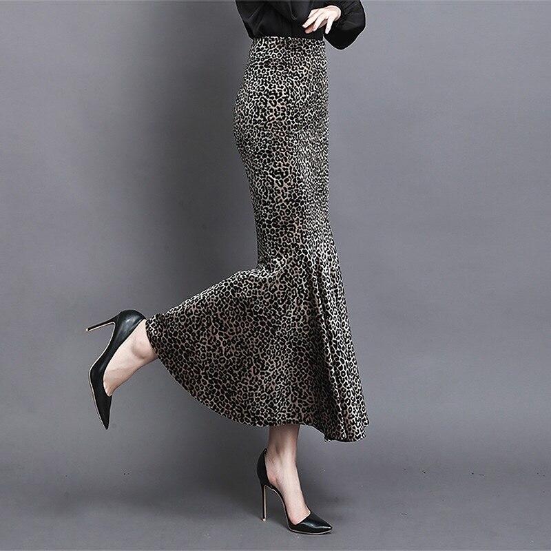 Gold velvet leopard fishtail skirt winter new slim slimming hip skirt ruffled woman skirt
