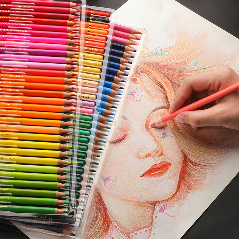 Water Soluble Watercolor Pencil  48/72/120/150/180 Oil Colored Pencils Professional Artist Painting Sketching Kids Art Supplies