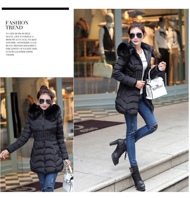 Winter Long Women Coats Parkas Slim Pleated Black Female Coat Outwear Fashion Disassembled Hooded Cotton Women Jackets MLD1271 15