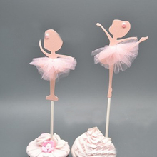 Cupcake Toppers Wedding-Party-Decoration Ballerina Dancing-Girl Cake-Picks Glitter Gold