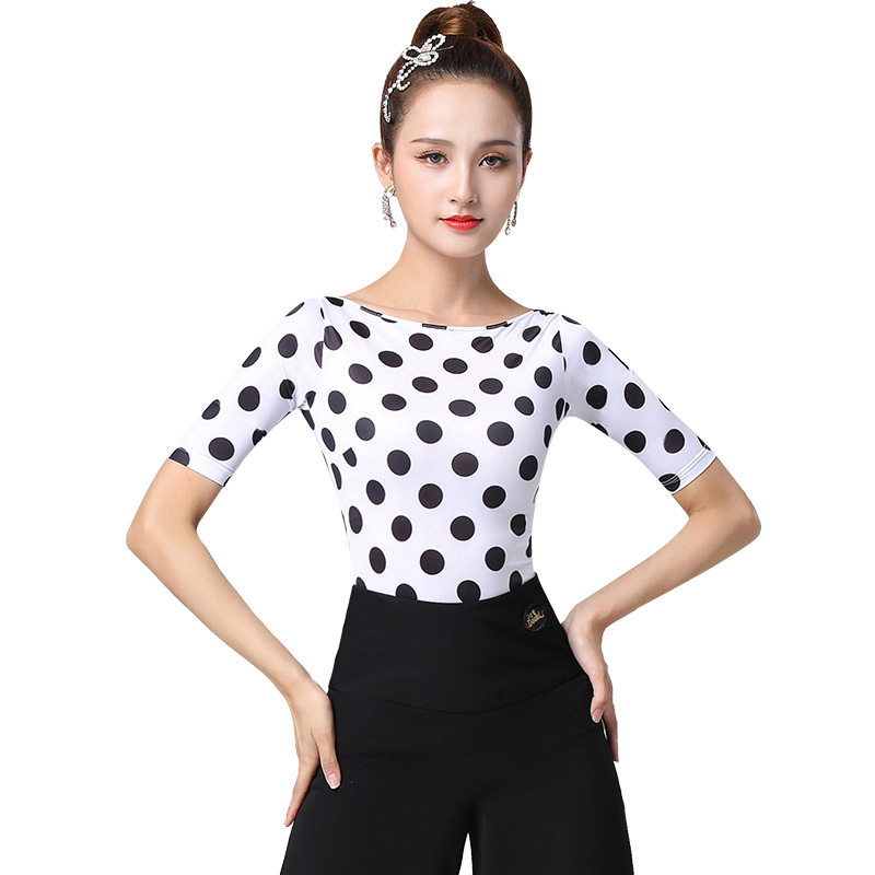 Doubl New Arrival Adult Latin Dance Top Female Ballroom Dancing Garment Girls Square Dancers Clothes Performance Dance Suit slim