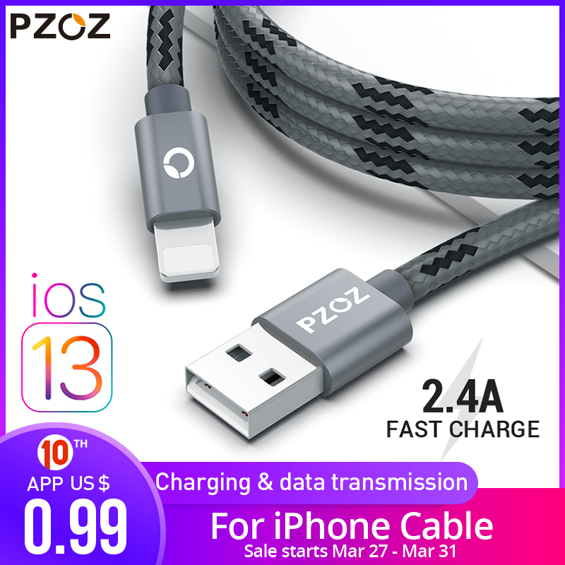 PZOZ usb cable for iphone cable 11 pro max Xs Xr X 8 7 6 plus 6s 5s plus ipad air mini title=