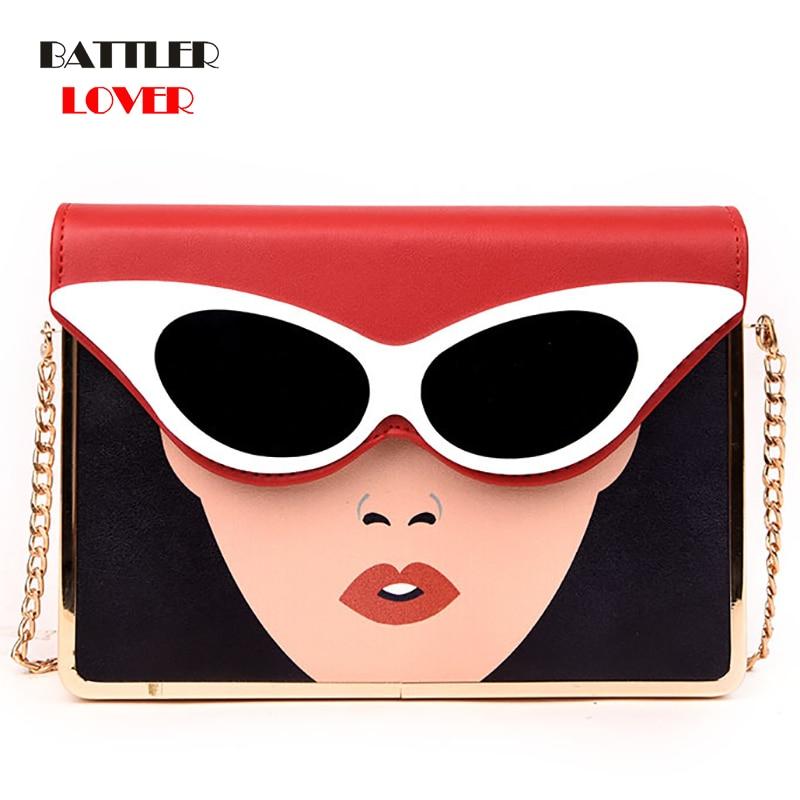 Luxury Fashion Glasses Sexy Character Designer Bag Boston Shape Pu Leather Lady Handbag Shoulder Bags Female Bolsa Messenger Bag
