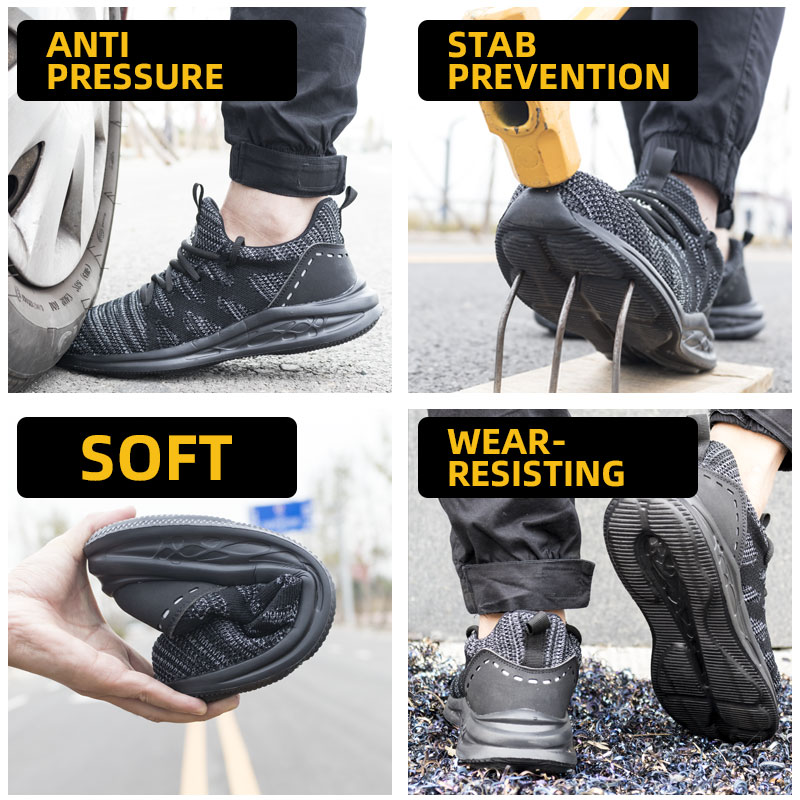 Drop shipping men safety shoes steel toe cap breathable women work boots sneakers casual male shoes plus size 36-48 RXM171