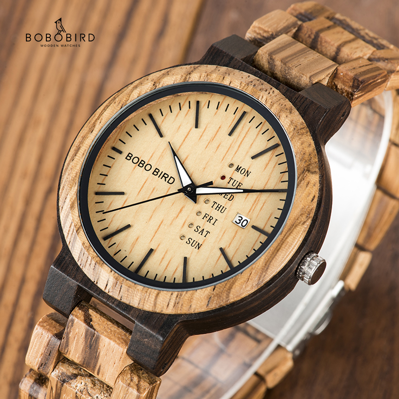 Wood Watch Timepieces Week Best-Gift Bobo Bird Boyfriend Men Casual Date-Display Relogio title=