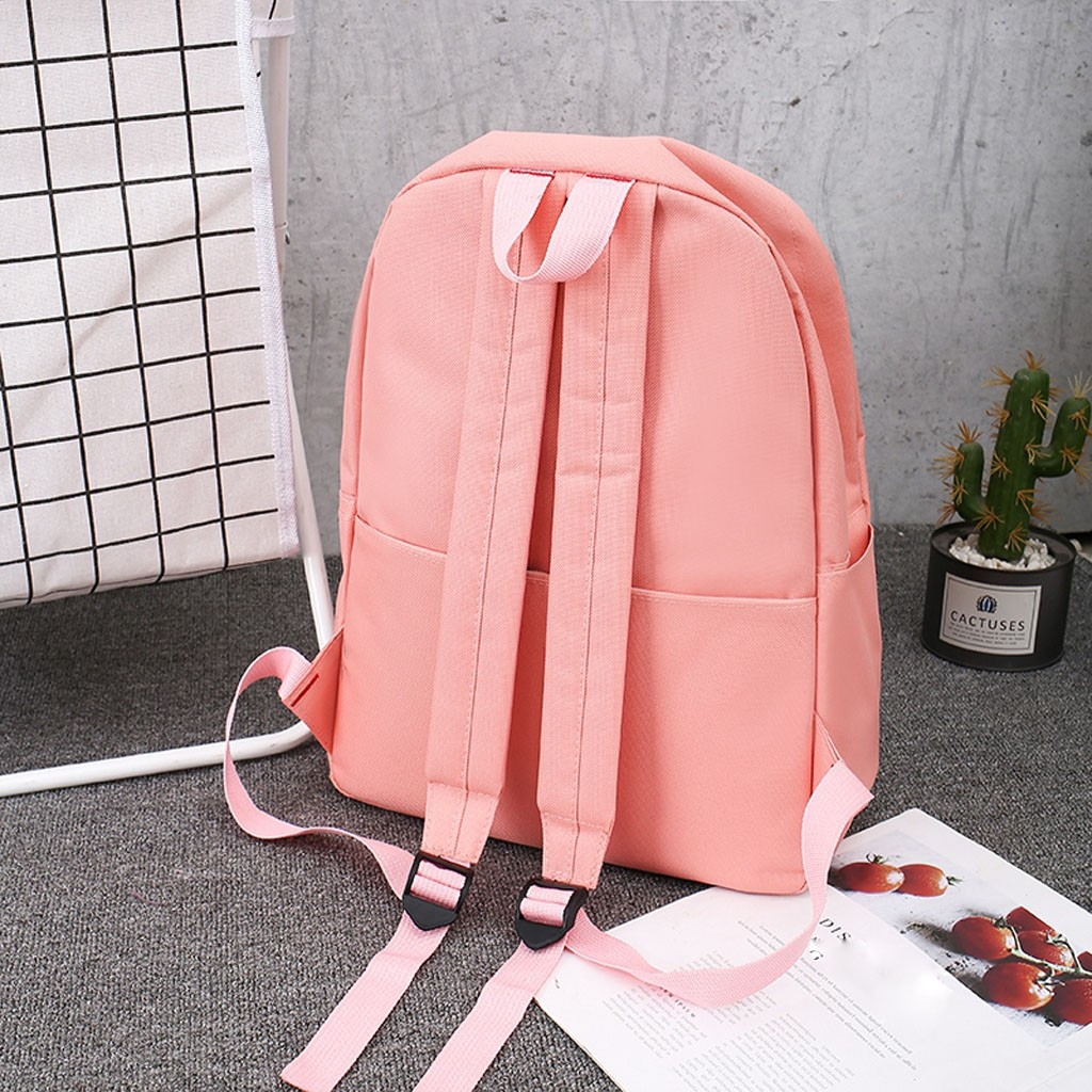 4 Pcs/Sets Backpacks Letter Color Matching Hair Ball Backpack New Large Capacity Student Bag Casual Canvas Printing Four-Piece