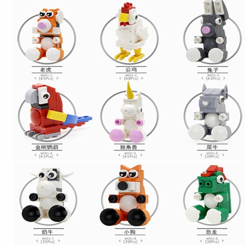 Legoing Animals Set Model Toys For Children Building Blocks Dog Raptor Capsule Tiger Dog Rabbit Legoing Dinosaur Figures  Parrot