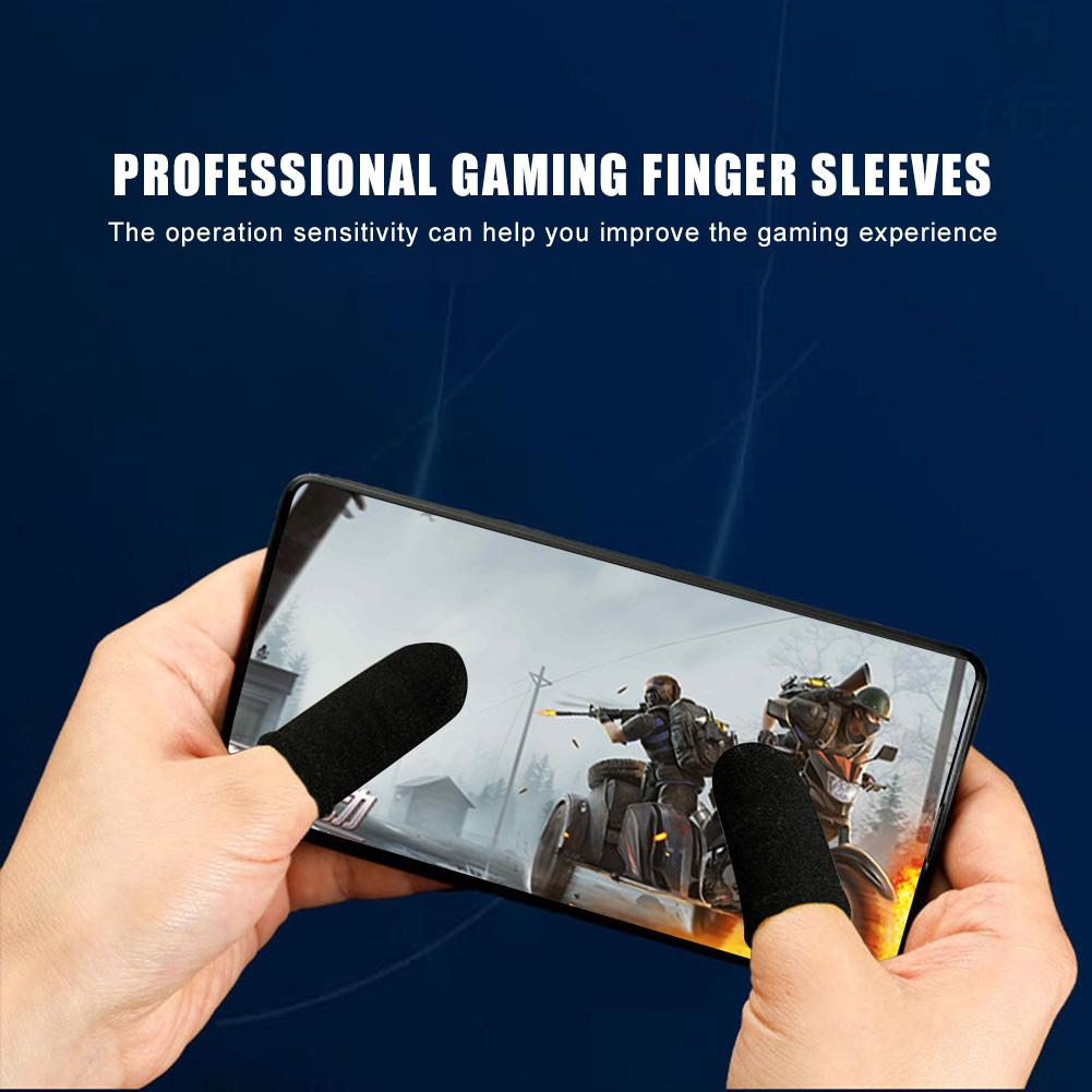 1 Pair Blue-Black Mobile Game Non-Slip Finger Sleeves for PUBG Phone Games Touch Screen Finger Caps Gloves Sweat-Proof Thumb Cover Mobile Phone Accessories