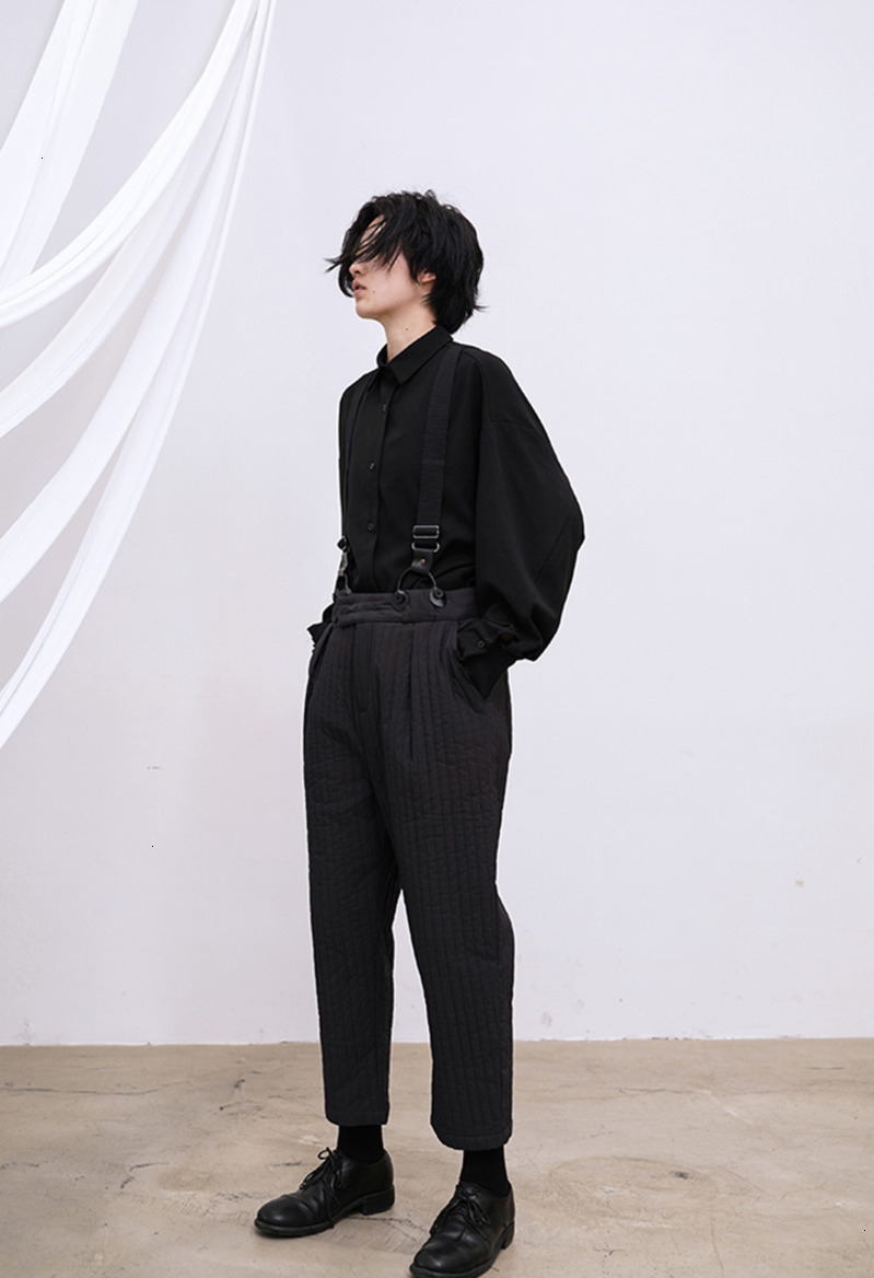 High Waist Black Long Cotton-padded Overalls Trousers New Loose Fit Pants Women Fashion Tide Spring Autumn 2020