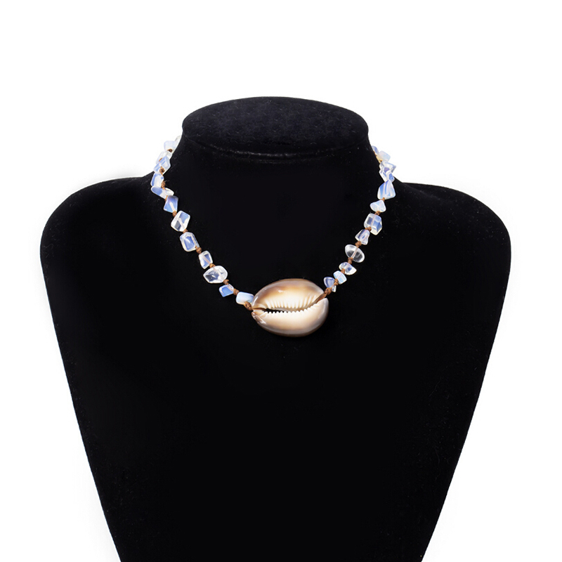 Bohemian Opal Stone Natural Cowrie Shell Choker Pendant Necklace Women Jewelry New Fashion