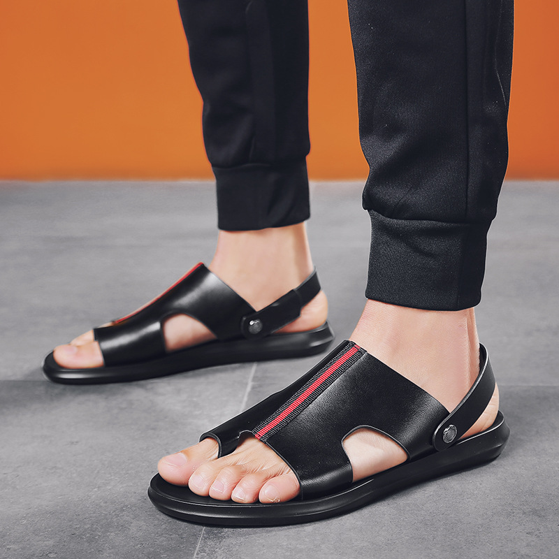 Handmade Sandals Men/'s Full-grain Leather Summer Men Genuine Leather Casual Sandals Breathable And Comfortable Slipper Fashion M
