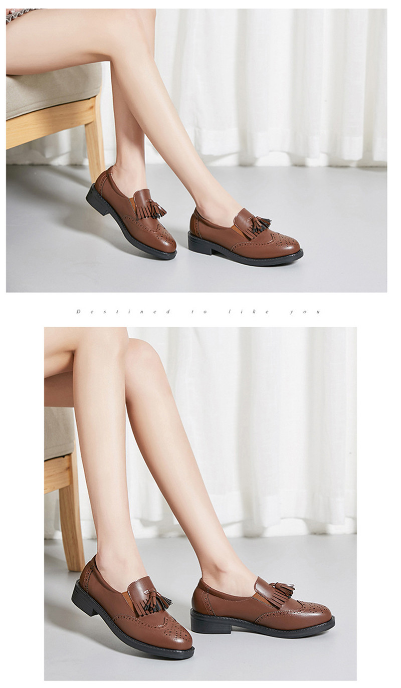 New British Carved Oxford Shoes For Woman Korean College Slip On Student Flats Brogues Shoes Retro Tassel Casual Women's Loafers (31)