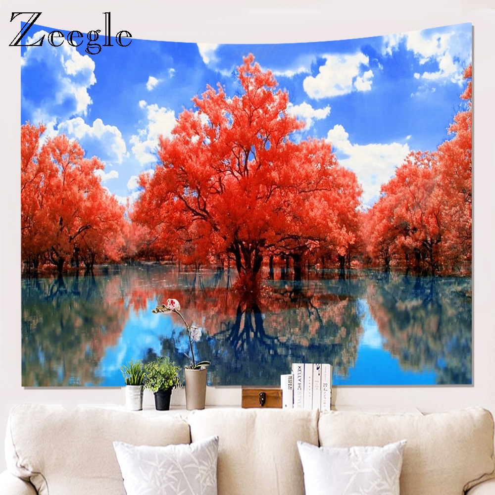 Zeegle 3D Printed Tree Tapestry Wall Hanging Background Clothes Hippie Mandala Wall Hanging Bedspread Decor Tapestry Picnic Mat