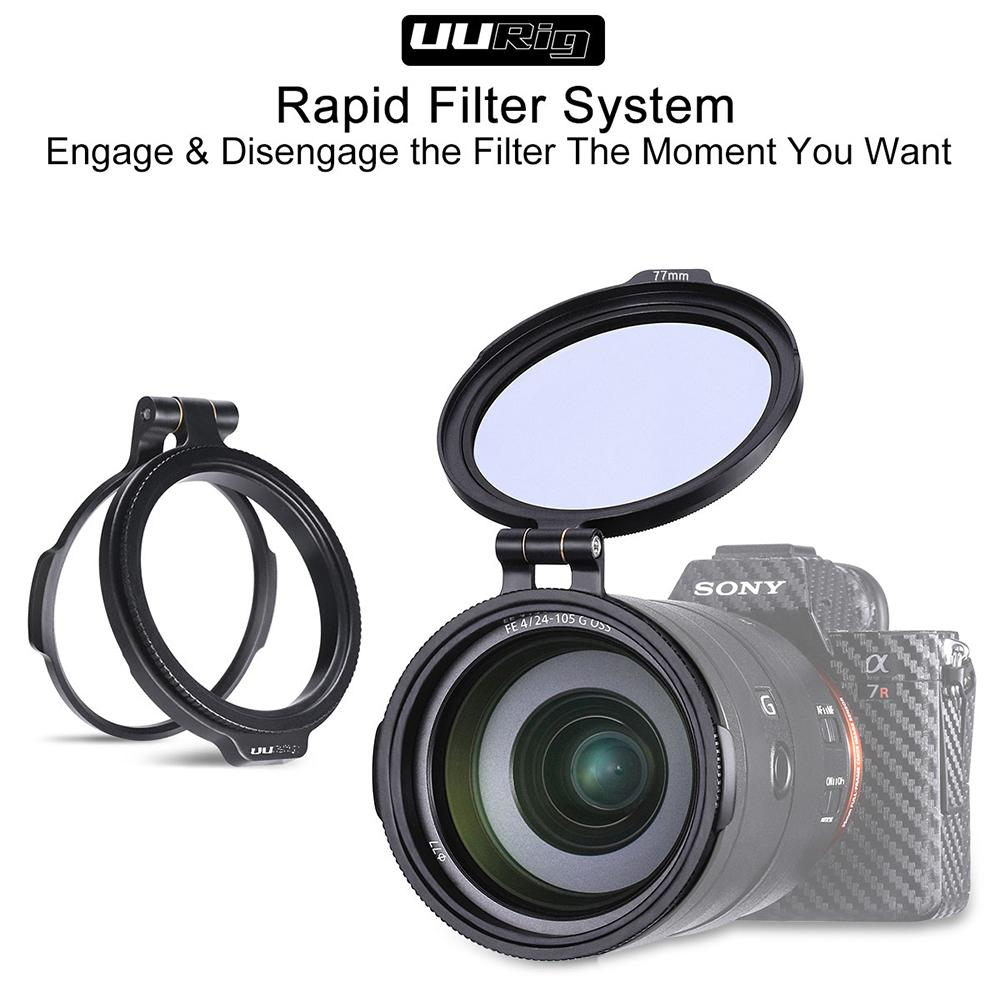 UURig Aluminum Rapid Camera Lens ND Filter Mount Bracket Use on Universal Lens for Canon Sony Panasonic Camera DSLR 82MM