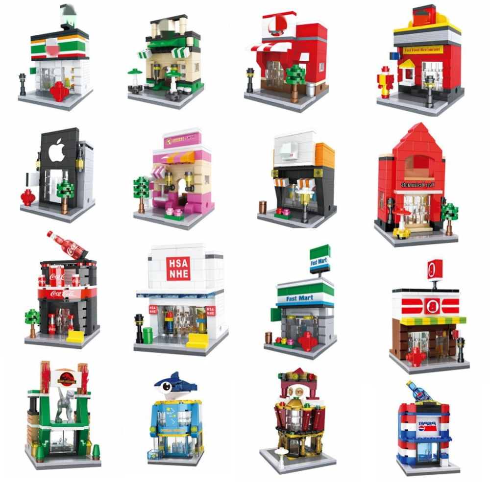 Legoing City House Creator Street View Model Shopping Beverage Shop Animal Museum Aquarium Set Building Blocks Toys For Children