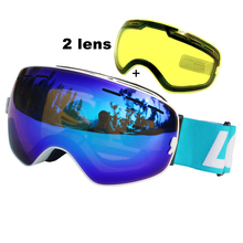 Snowboard Goggles Ski-Glasses Skiing LOCLE Ski-Eyewear Night-Vision-Lens Double-Layers