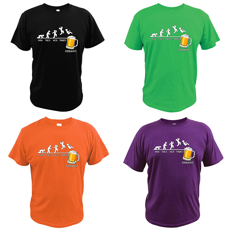 Friday Beer Drinking T Shirt Time Schedule Funny Monday Tuesday Wednesday Thursday Digital Print Summer Gift T-Shirt