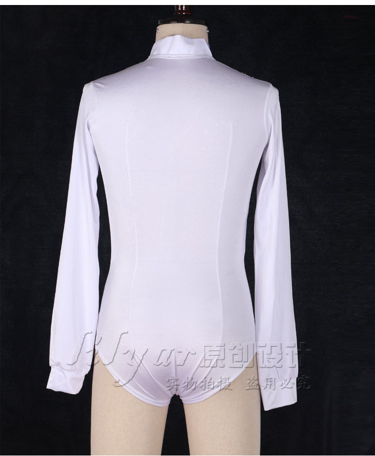 New Fashion Latin Dance Tops for Men Shiny Rhinestones White Color V-neck Shirts Male Latin Dance Ballroom Competition Costumes
