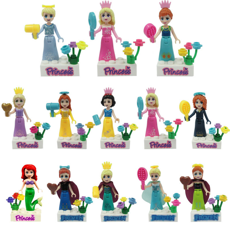 Legoing Friends Princess Anna Mermaid Cinderella Rapunzel Belle Merida Toys for Children Friend Legoing Figures Building Blocks
