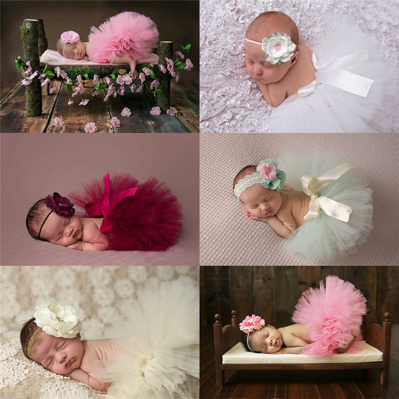 Baby Tutu Clothes Skirt Newborn Headdress Flower Girls Photo Prop Outfits Baby Girls Tulle Tutu Skirt Photography Props Toddler