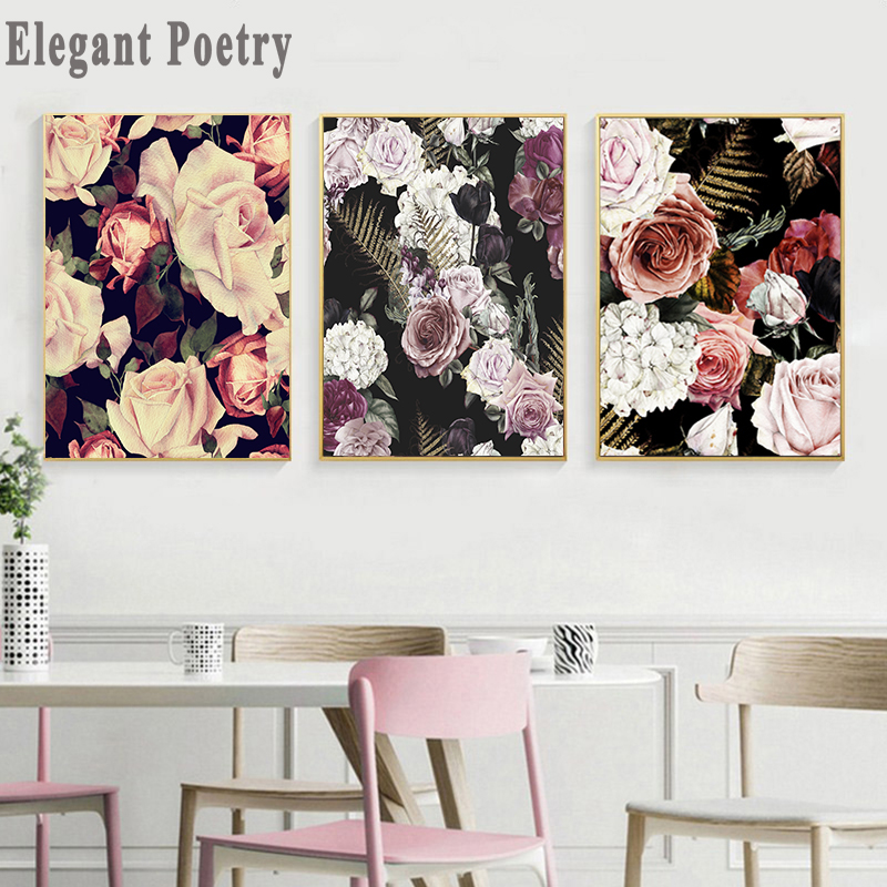 Scandinavian Rose Flower Wall Art Canvas Poster Nordic Floral Print Painting