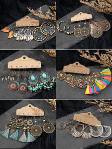 Drop-Earrings Jewelry Stones Women-Sets Sea-Shells Wooden Ethnic Round Vintage Bohemia
