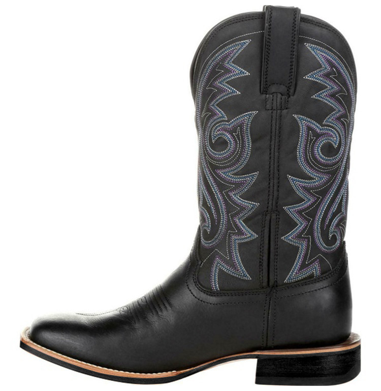 Left-side view of a Black Western Cowboy Motorcycle Boot