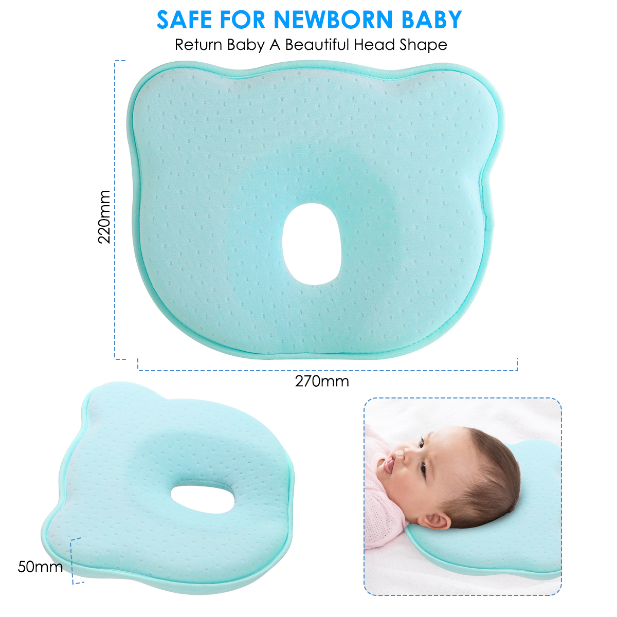puseky Baby Pillow Newborn Memory Foam Head Shaping Neck Support Pillow Preventing Flat Head Syndrome Plagiocephaly