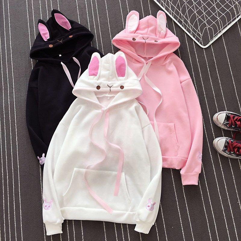 Women Long Sleeve Cute Bunny Girl Sweatshirts Hoodies