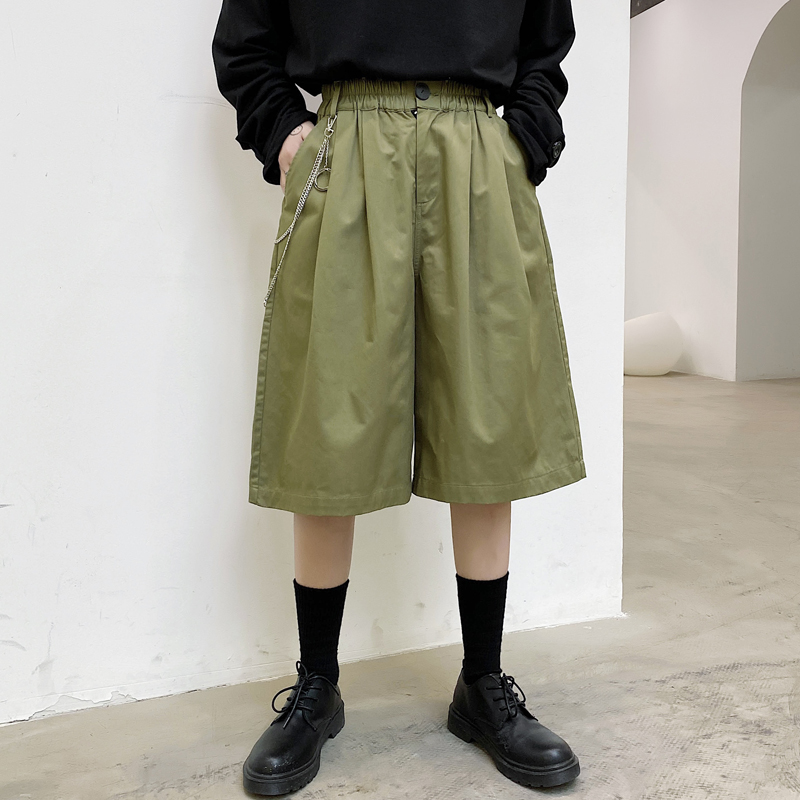3 Colors Men Metal Pendant Casual Elastic Waist Calf-length Suit Pant Male Summer Streetwear Hip Hop Loose Wide Leg Pants