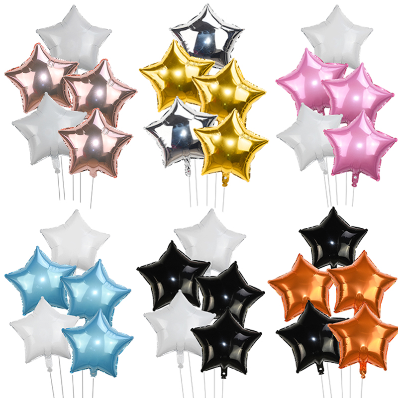 5/10pcs 18inch Happy Birthday Star Balloons Gold Silver Foil Helium Balloon for Baby Shower Birthday Party Decoration Pentagram