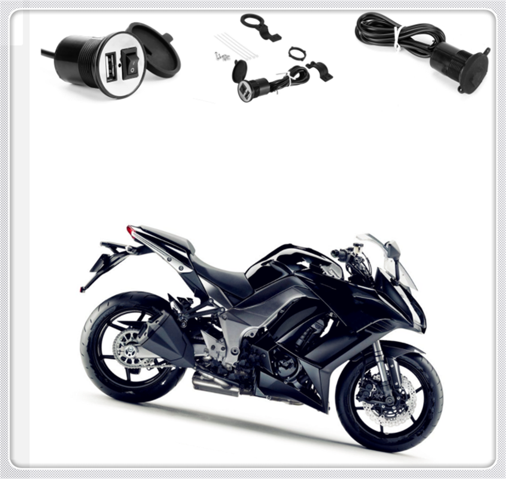 12V-24VUniversal motorcycle modified shape USB charger with switch for YAMAHA MT-03 MT-25 FAZER600 FZ6S FZ6N FZ6R YBR 125