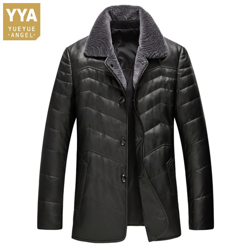 Winter Casual Thick Wool Collar Lapel Men Sheepskin Jackets High Quality Genuine Leather Medium Length Male Warm Coats Plus Size title=