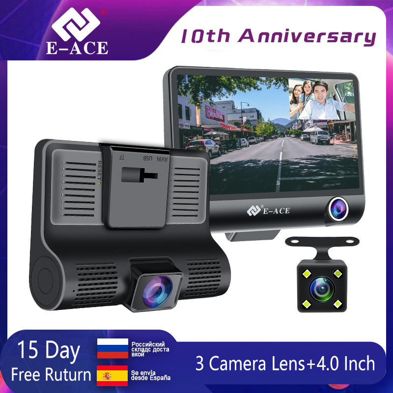 E-ACE Car DVR Camcorder Registrator Dash-Cam Dual-Lens Rear-View-Camera Auto 3  title=