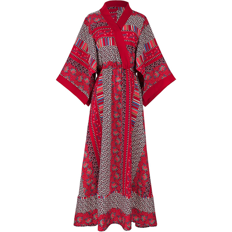 XITAO Folk Custom High Waist Red Dress Women Clothes 2020 Summer New Fashion Print Beach Style Elegant Dress New Fashion ZLL4635
