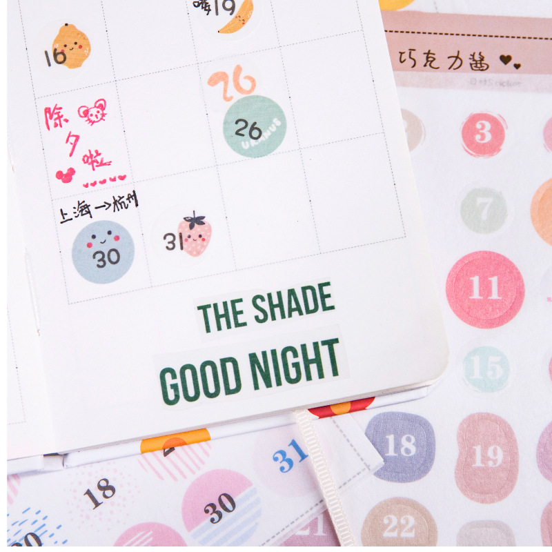 1 Sheet 31 Days Sticker for 2020 Cute Round Number Sticker Daily Planner Diary Stickers DIY Label Scrapbooking Album Stationery