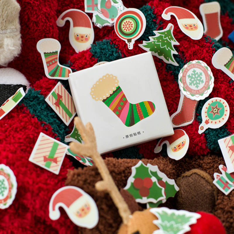 50pcs/box Small Christmas Trees Stickers Kawaii Deer Stickers Adhesive Cute Stickers Decor Scrapbooking Diary Albums Papeterie
