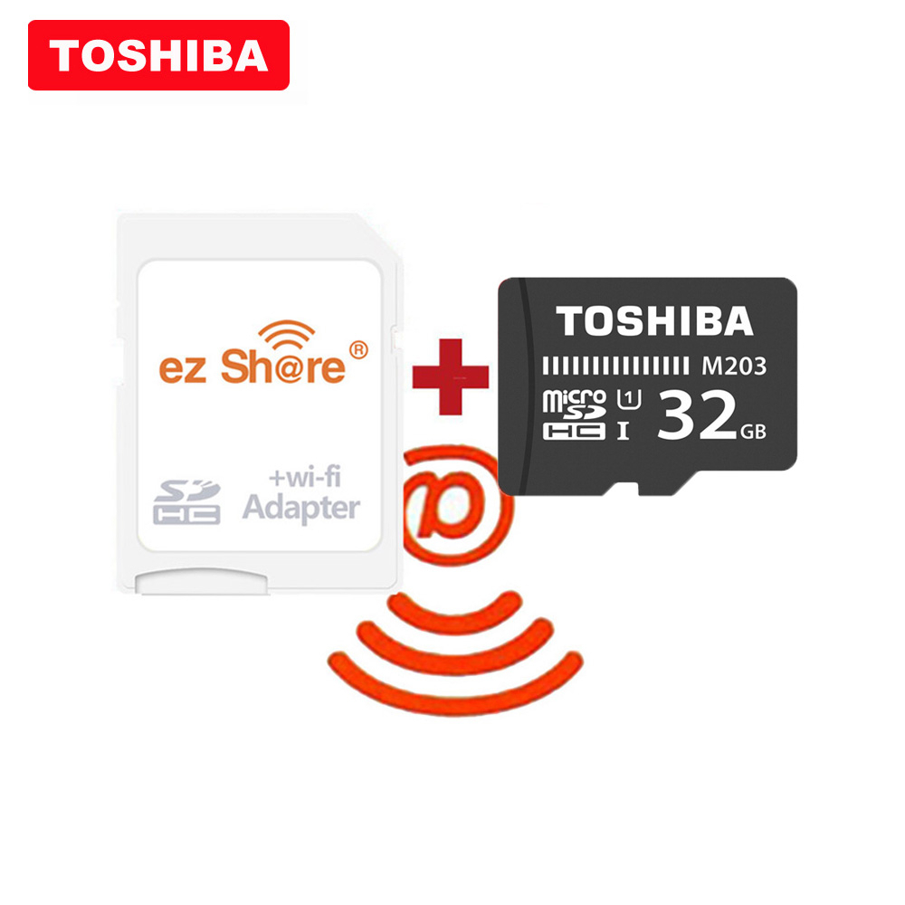 ezshare Wireless wifi adapter TOSHIBA Micro SD Card M203 C10 16GB 32GB 64GB 128GB Memory Card UHS-I TF Card For Smartphone/TV title=