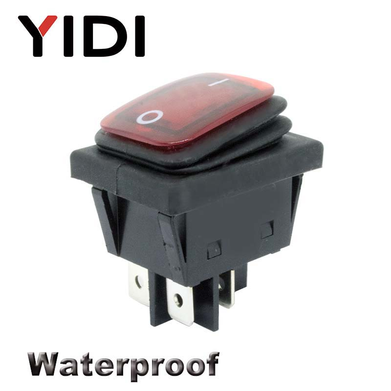 Free Shipping 30x22 Heavy Duty Waterproof Rocker Switch 12V Red LED 220V Light Illuminated 16A 250VAC KCD4-201 DPST Switch 4pin