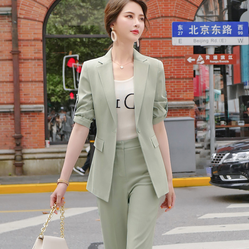 Fashion new pants suits women temperament high-end half sleeve slim blazer and wide-leg pant office ladies business work wear