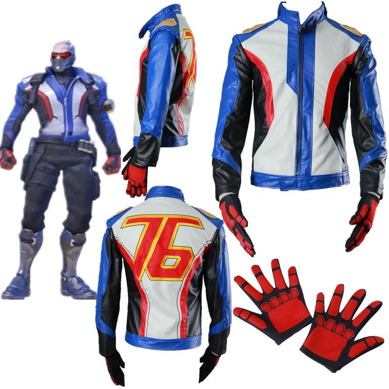 Overwatch Soldier 76 Jacket Coat Gloves Halloween Cosplay Costume Men Kids