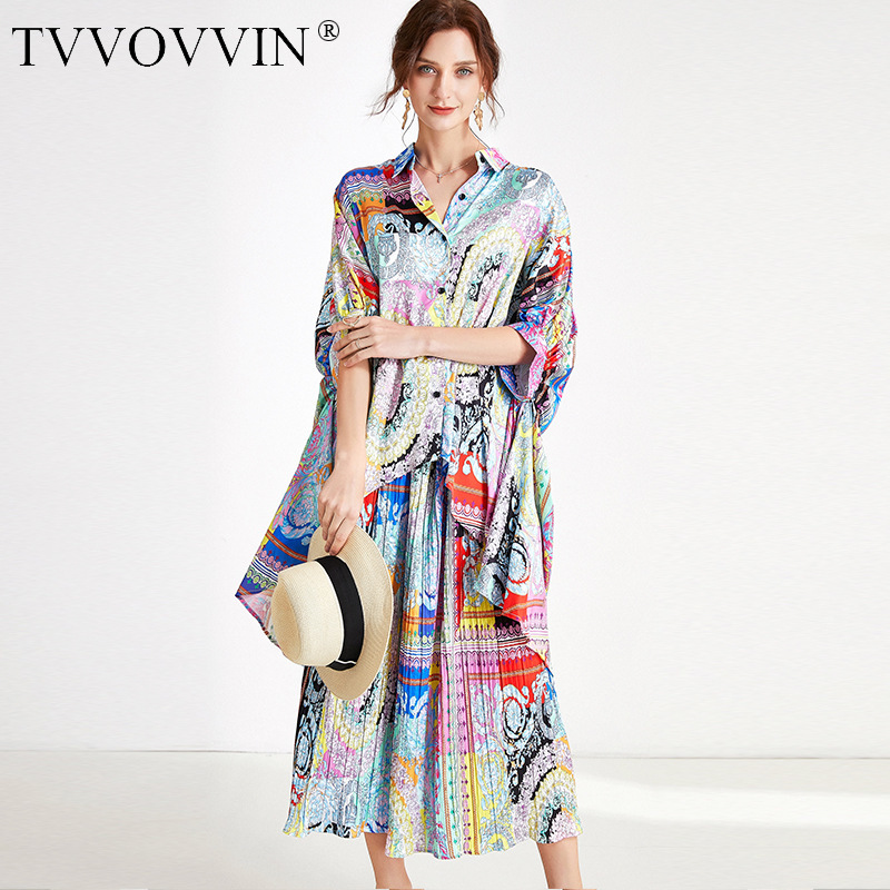 TVVOVVIN 2020 SUMMER New Personality Two-piece Large Size Singgle Breasted Pleated Casual Loose Skirt+blouse Fashion A162