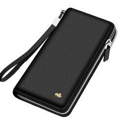 Кошелек BISON DENIM, из натуральной кожи, с блокировкой RFID, держатель для карт, кошелек на молнии, Мужской Длинный кошелек N8195
