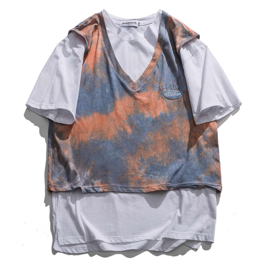 Lindsey Seader Mens Fake Two Piece T Shirt Tie-dye Print Retro 2020 New T-Shirt Streetwear Harajuku Street Tshirt Summer Tee Top