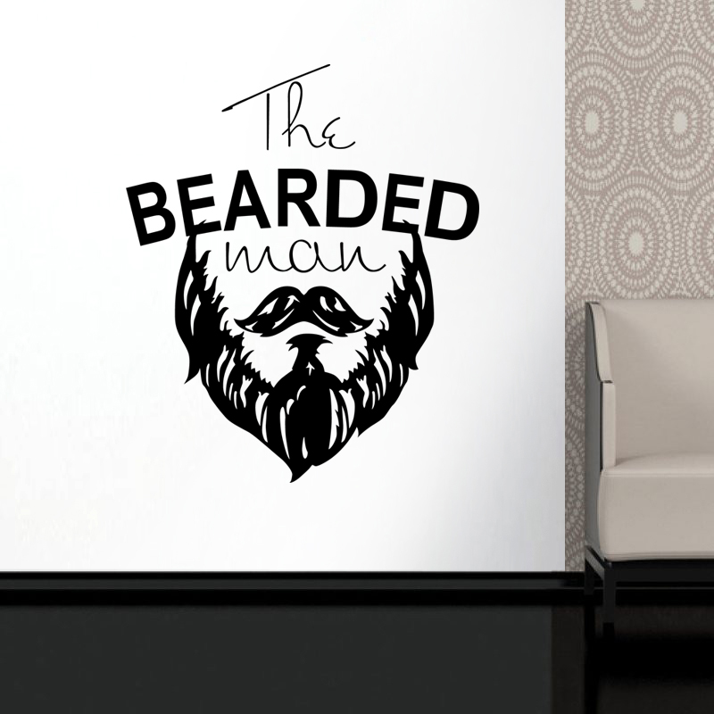 Man Barber Shop Sticker Bearded Decal Haircut Posters Vinyl Wall Art Decals Decor WIndows Decoration Mural Salon Sticker